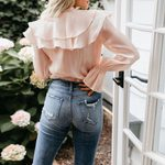 Sweet Pink Blouse Solid Top Ruffle Long Sleeve Shirts