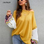 Pullover Knitted Sweater Boho Lantern Sleeve