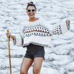 Ethnic beige pullover boho sweaters