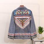 Boho Beading Amber Embroidery Denim Jacket