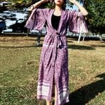 Vintage Kimono Coats Boho Print Sashes Loose