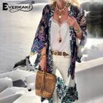 Boho Print Long Coat Kimono Beach Loose