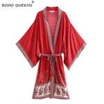 Vintage chic red Floral Print Sashes bohemian Kimono