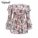 off shoulder floral print romper jumpsuit chic boho