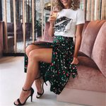 Green Leopard Print long Skirt Casual Boho