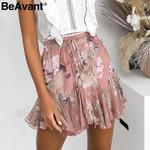 Bohemian print skirts pleated floral short boho