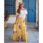 Chiffon Boho Floral Jersey Gypsy Long Maxi Full Skirt