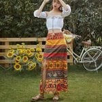 Boho Party Beach Set Crop Top+Floral Print Skirt