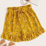 Floral Print Boho Shorts Loose Casual Drawstring