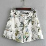 Print Shorts Button High Waist Casual Boho