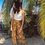 Floral Printed Hippie High Wasit Wide Ledg Pants