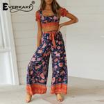 Boho Print Sets Suits Vintage Short Top and Long Pants