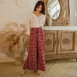 boho ethnic style high waist printed wide leg pants