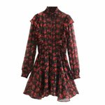 elastic turtleneck collar floral print ruffles mini Dress