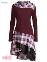 Pile Pile Collar Full Shoulder Plaid Lace Dress