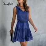 sleeveless boho Solid ruched high waist v neck dress