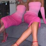 Pink strapless midi Off shoulder bodycon dress