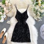 Sexy Glitter Sleeveless Knee Length Bodycon Dress