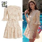 Designer FLoral Lace Patchwork Ruffles Mini Dress