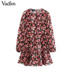 elegant floral pattern O neck dress