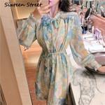 Silk floral Printed Female elastic waist Dresses