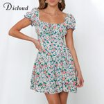 Boho Floral Print Square Collar Elegant Dress