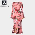 Runway Flare Sleeve Pink Rose Floral Print Dress