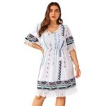 Cotton Boho Dress Oversized Midi Dress