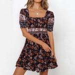 Short Sleev Boho Style Holiday Travel Dress