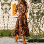 Long Floral Print Boho Chiffon Dress