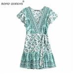 lace-up sashes v-neck floral print Bohemian mini dress