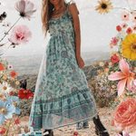 blue floral long boho straps tied ruffle dress