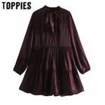 Long Sleeve Blouse Loose Spliced Mini Dress