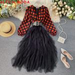 Bubble Sleeve High WaistLong-sleeved Dress