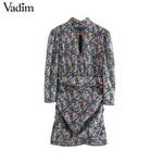 sweet floral pattern mini long sleeve dresses