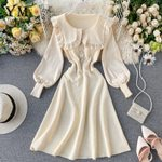 Romantic Ruffle Design Knitted Dress