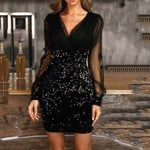 Mesh Sleeve Sexy V-neck Sequined Mini Dress