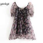 Sexy Semi-Sheer Organza Print Dress