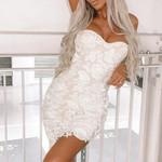 sexy club bodycon strapless mini white dress