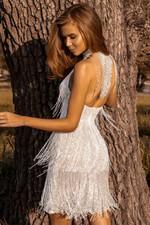 Fringed Halter Open Back Sequin Mini Dress