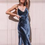 Velvet Bandage Backless Sexy Spahetti Strap Midi Dress