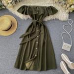 Button Ruffles sexy off shoulder dresses