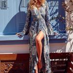 Bohemia V-neck Flare Sleeve Print Maxi Dress