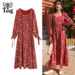Floral Print Red Boho Maxi Dress