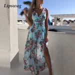 Sexy Deep V-neck Floral print Boho Dress