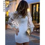 Sexy Polka Dot Mesh Sheer Long Sleeve Dresses