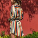 Shirt Colorful Long Sleeve Vintage Casual Dresses
