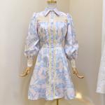 Designer Runway Lantern Sleeve Shirt Casual Dress