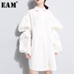 White Split Joint Pleated Shirt Dress