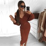 Long Sleeve Bandage Sexy Off Shoulder Dress